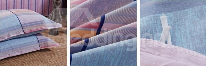 Classic Gradient Stripe Reactive Printing 4-Piece Cotton Duvet Cover Sets
