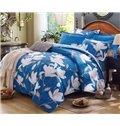 Stylish White Magnolia Print Blue 4-Piece Cotton Duvet Cover Sets