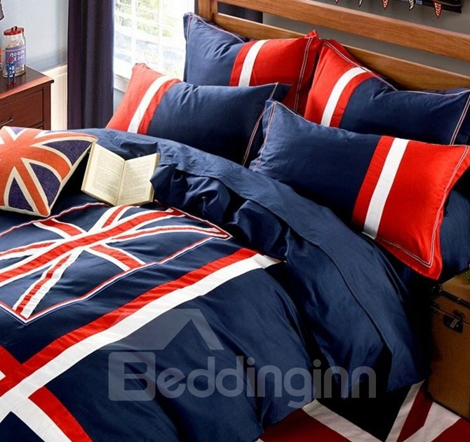 Unique England Flag Print 4-Piece Cotton Duvet Cover Sets