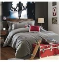 Solid Gray Color Stripe Print 4-Piece Cotton Duvet Cover Sets