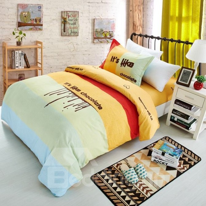 Creative Letter Print Color Block Cotton 3-Piece Duvet Cover Sets