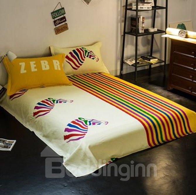 Unique Colorful Zebra Print 4-Piece Cotton Duvet Cover Sets