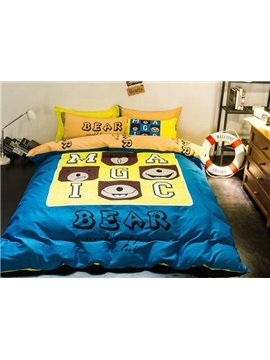 Elegant Bear and Letter Print 4-Piece Cotton Duvet Cover Sets