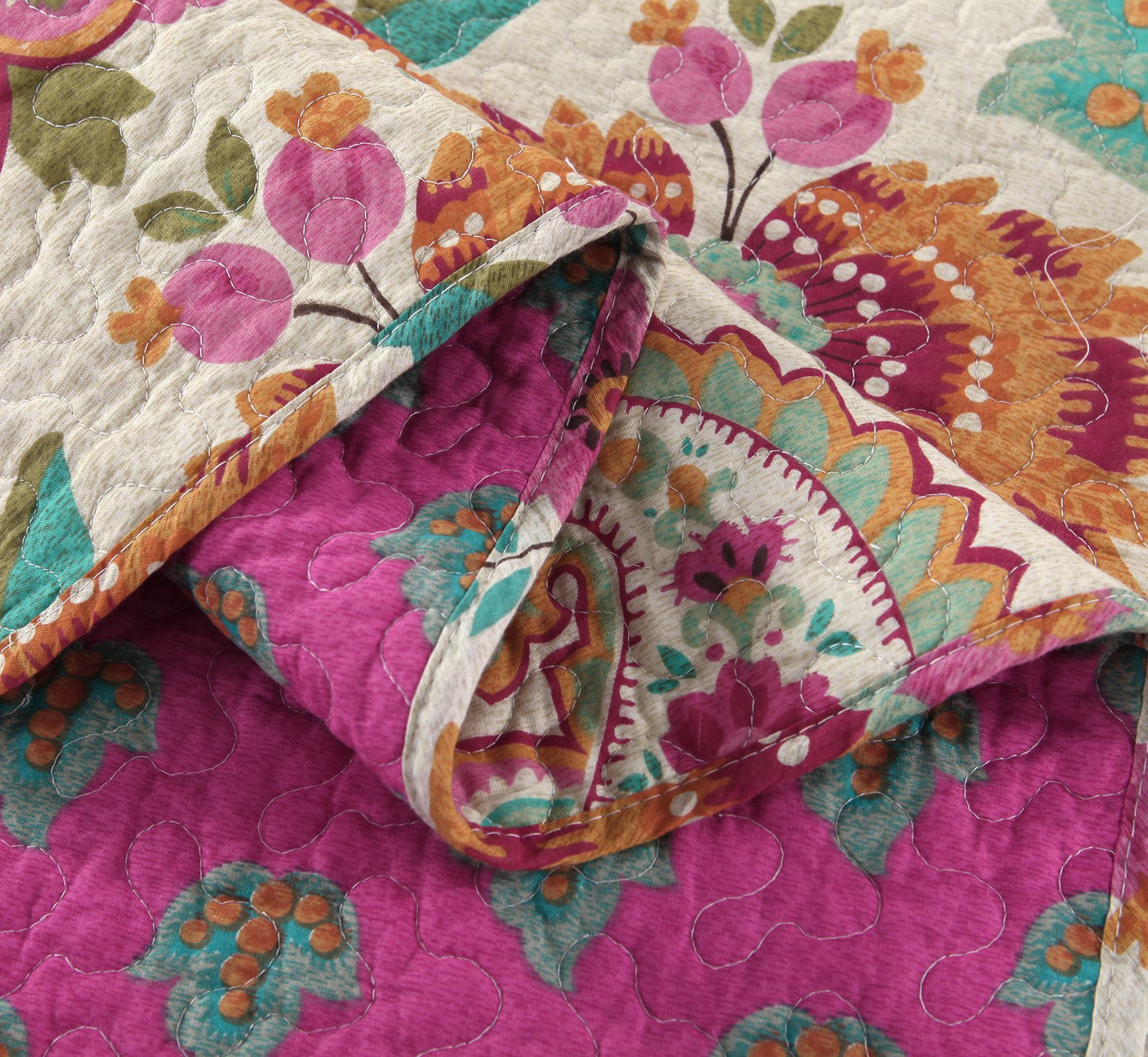 Paisley and Flower Print Cotton 3-Piece Bed in a Bag