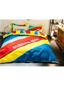 Colorful Stripe 100% Woven Cotton 4-Piece Duvet Cover Sets