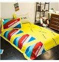 Colorful Stripe 100% Woven Cotton 4-Piece Duvet Cover Sets