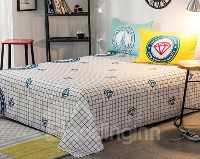 Glamorous Diamond Print 100% Woven Cotton 4-Piece Duvet Cover Sets