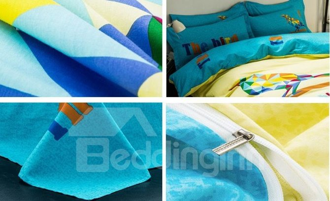 Creative Cute Bird Print Yellow 4-Piece Cotton Duvet Cover Sets