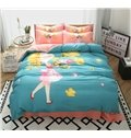 Graceful Lovely Girl Print 4-Piece Cotton Duvet Cover Sets