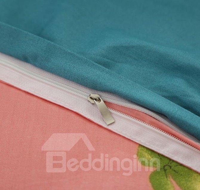 Graceful Lovely Girl Print 4-Piece Cotton Duvet Cover Sets