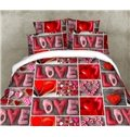 Lovely Letter and Red Heart Print 4-Piece Polyester 3D Duvet Cover