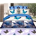 Romantic Blue Butterfly 3D Printed 4-Piece Polyester Duvet Cover