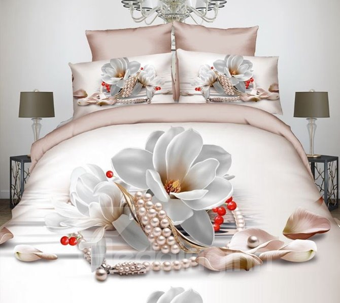 Noble Magnolia and Pearl Print 4-Piece Polyester 3D Duvet Cover