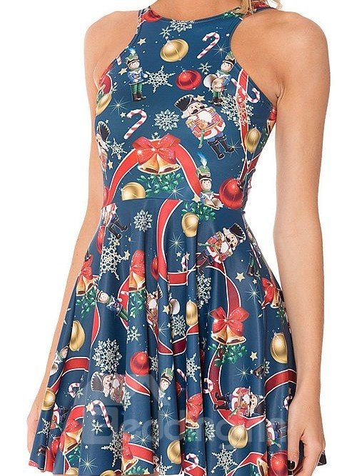Charming A-line Round Neck Jingle Bell Pattern 3D Painted Dress