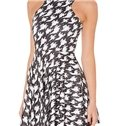 Concise A-line Round Neck Houndstooth Pattern 3D Painted Dress