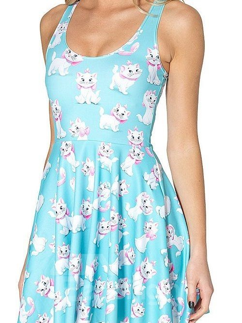 Lovely A-line Round Neck Cartoon Cat Pattern Light Blue Background 3D Painted Dress