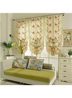 Free Shipping Colorful Butterflies Embroidery Semi-Blackout Tied-Up Roman Shades