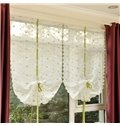 Free Shipping Concise Purple Floral Embroidery Sheer Tied-Up Roman Shades