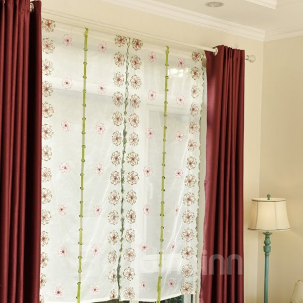Free Shipping Elegant Colorful Wreaths Embroidery Sheer Tied-Up Roman Shades