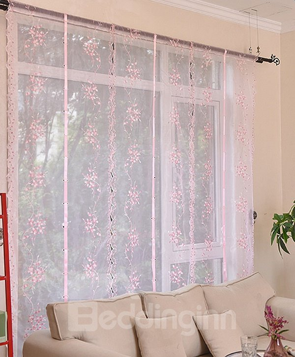 Free Shipping Lovely Pink Vine Embroidery Sheer Tied-Up Roman Shades