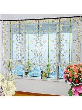 Free Shipping Country Style Yellow Sunflowers Embroidery Sheer Tied-Up Roman Shades