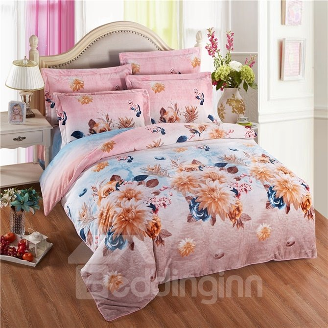 Beautiful Clematis Florida Print 4-Piece Coral Fleece Duvet Cover Sets