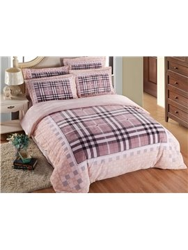 Skincare Modern Plaid 4-Piece Coral Fleece Duvet Cover Sets