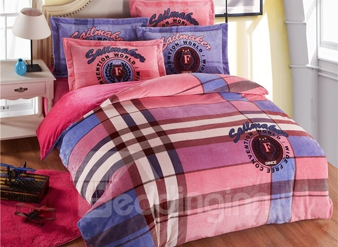 Modern Plaid Reactive Printing 4-Piece Coral Fleece Duvet Cover Sets