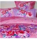 Romantic Heart-shaped Peony Print 4-Piece Coral Fleece Duvet Cover Sets