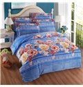 Noble Lush Peony Print Blue 4-Piece Coral Fleece Duvet Cover Sets