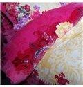 Excellent Colorful Peony Print 4-Piece Coral Fleece Duvet Cover Sets