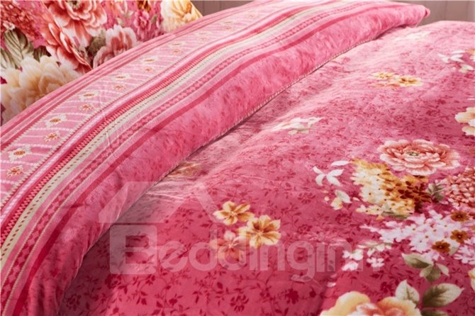 Gorgeous Peony Reactive Printing 4-Piece Coral Fleece Duvet Cover Sets