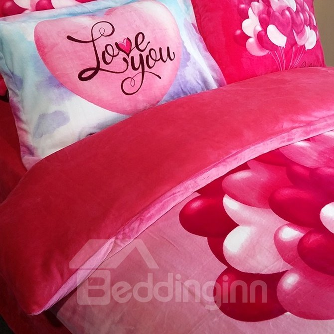 Romantic Colorful Balloon Print 4-Piece Coral Fleece Duvet Cover Sets