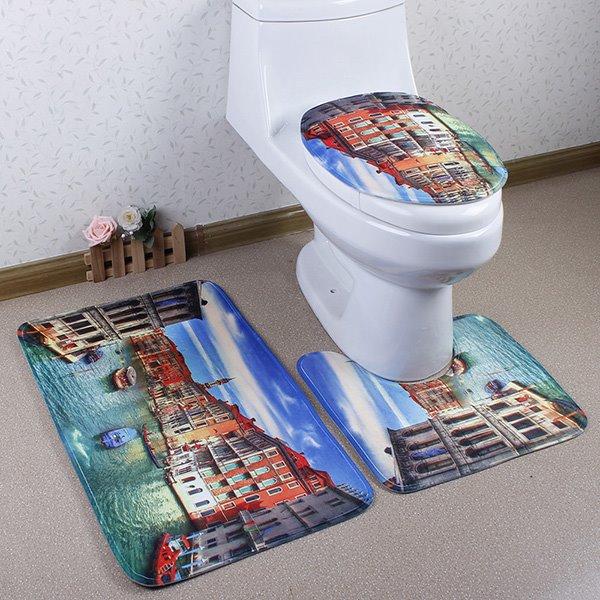 Beautiful Caroset 3D Venetian Scenery Printing 3-Piece Toilet Seat Cover