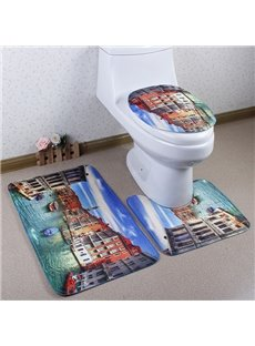 Beautiful Caroset 3D Venetian Scenery Printing 3-Piece Toilet Seat Cover