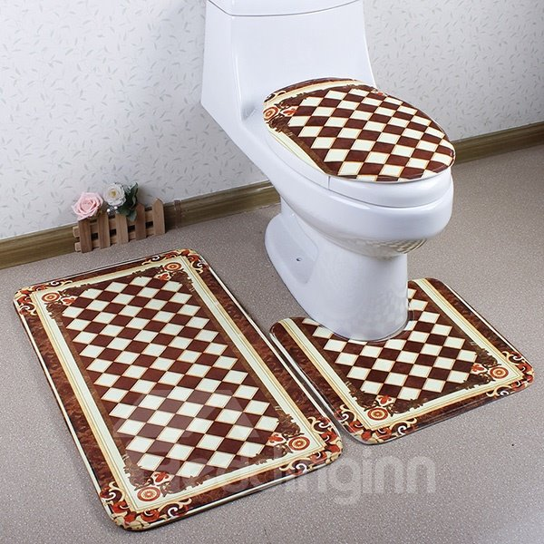 Luxury Geometric Printing Caroset 3D 3-Piece Toilet Seat Cover