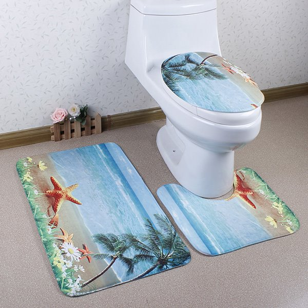 Starfish and Coconut Tree in the Beach Caroset 3D Printing 3-Piece Toilet Seat Cover