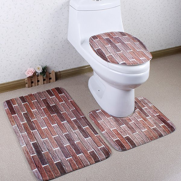 Funny Brick Wall Printing Caroset 3D 3-Piece Toilet Seat Cover