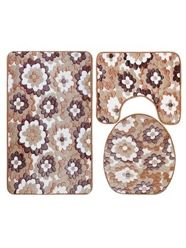 Caroset 3D Stick Figures Flower Printing 3-Piece Toilet Seat Cover