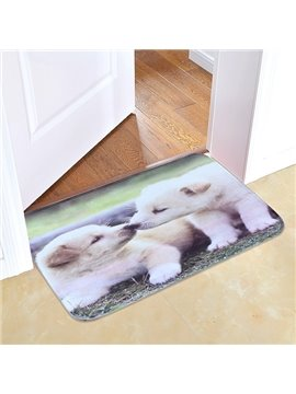 Couple Lovely Doggy Printing 3D Skid Resistance Bath Rug