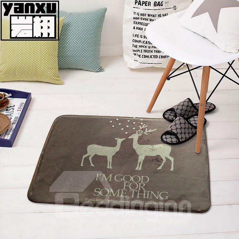 Simple Style Rectangle Deer Pattern Decorative Doormat