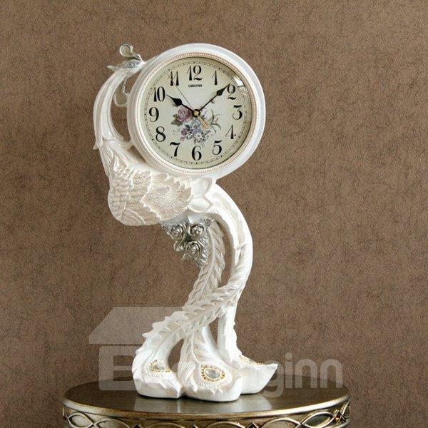 White Resin Beautiful Peacock Pattern Table Clock Desktop Decoration