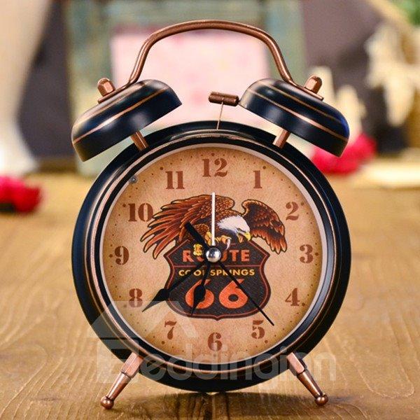 Black Iron Eagle Pattern Decorative Table Alarm Clock Desktop Decoration