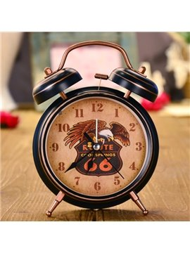 Black Iron Eagle Pattern Decorative Table Alarm Clock Desktop Decoration