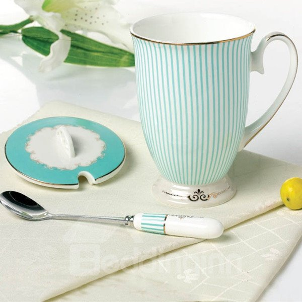 Creative Ceramic European Style Stripe Pattern Coffee Mugs