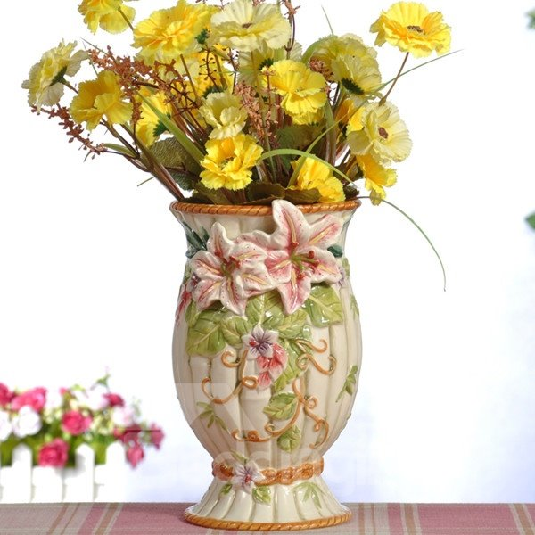Decorative Ceramic Lily Pattern Flower Vase Painted Pottery