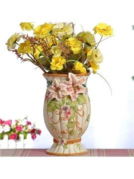 Decorative Ceramic Lily Pattern Flower Vase Painted Pottery