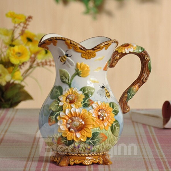 Fantastic Ceramic Sunflower Pattern Flower Vase Painted Pottery