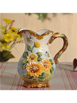 Fantastic Ceramic Sunflower Pattern Flower Vase Painted Pottery