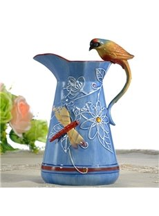 Blue Ceramic Dragonfly and Bird Pattern Flower Vase Painted Pottery